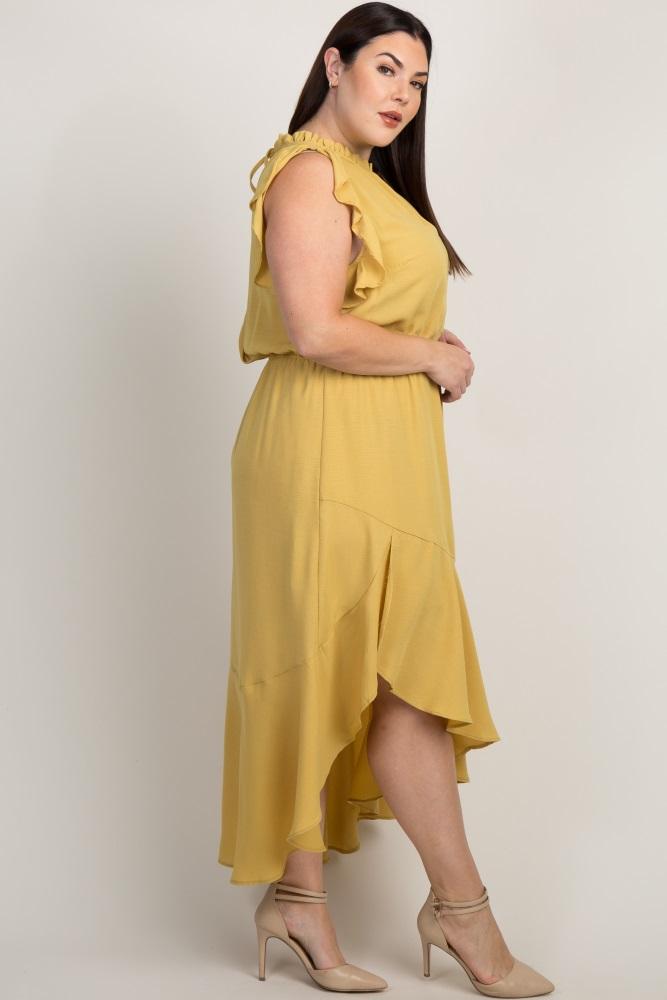 Yellow Flounce Trim Asymmetrical Plus Maxi Dress