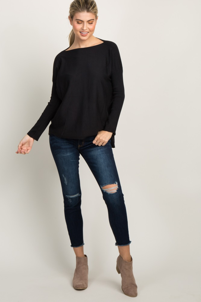black dolman long sleeve knit top