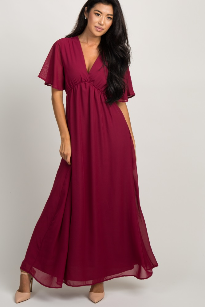 be0671a24b17 Burgundy Chiffon Bell Sleeve Maternity Maxi Dress
