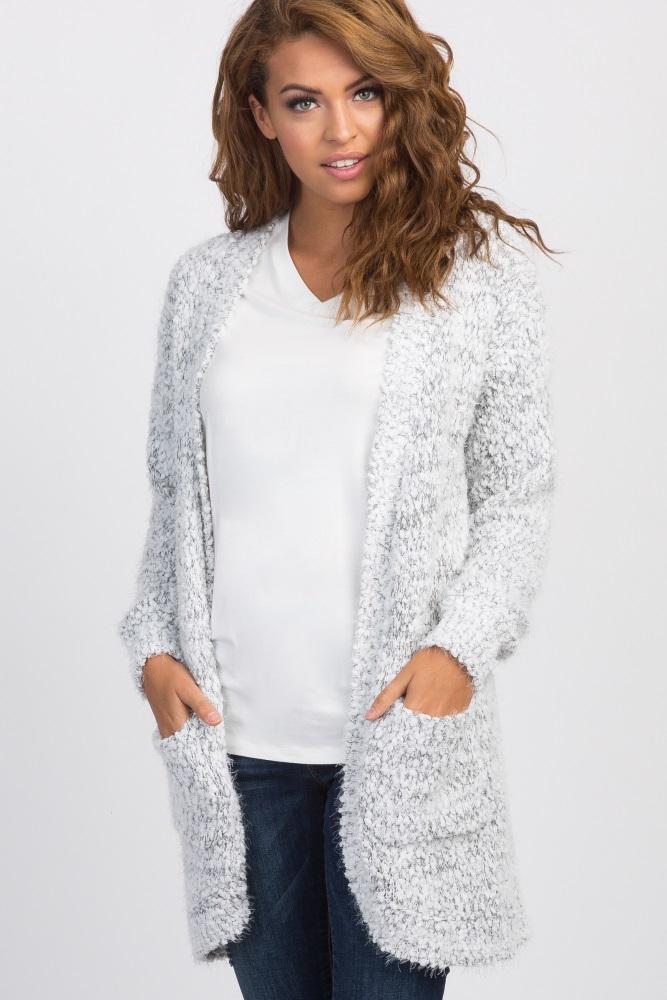 58949520bf8 Grey White Fuzzy Knit Maternity Sweater