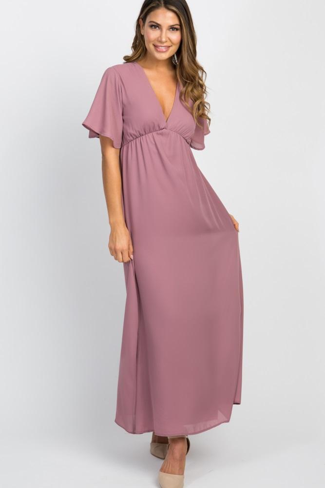 d9618f02ca Dark Mauve Chiffon Bell Sleeve Maternity Maxi Dress