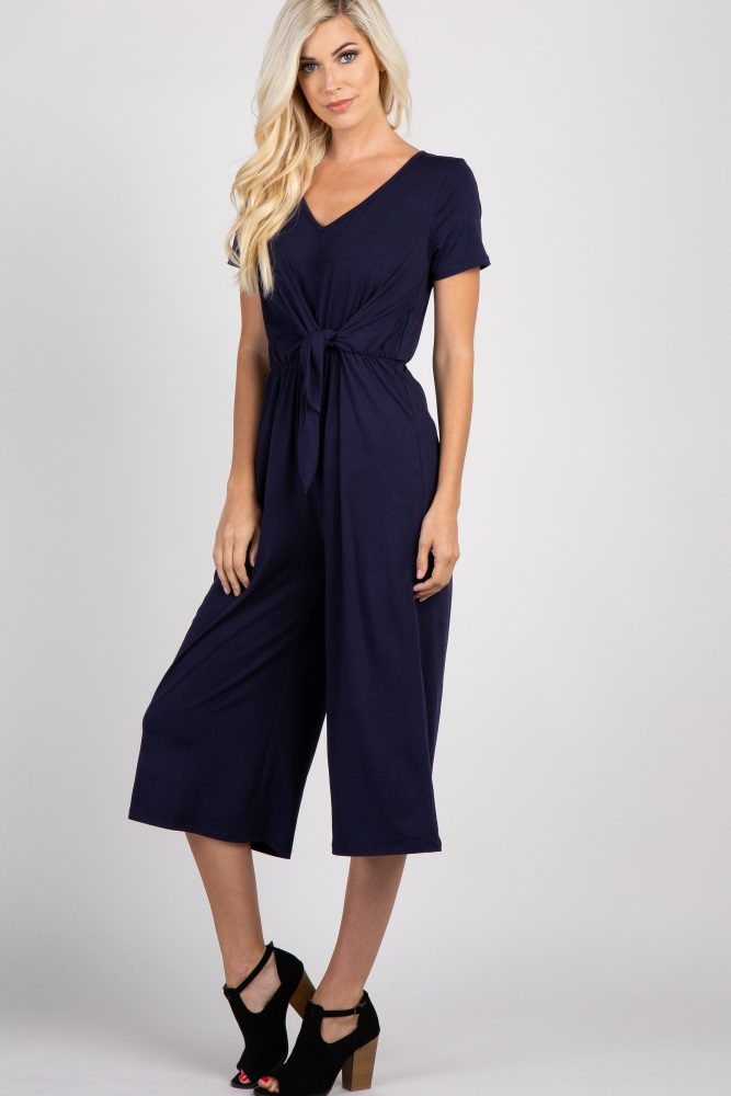 83729a1a6b8 Navy Solid Knot Front Jumpsuit