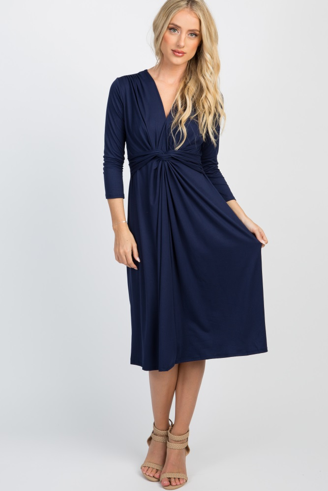8c5d89e6d0e Navy Blue Twist Front 3 4 Sleeve Maternity Dress