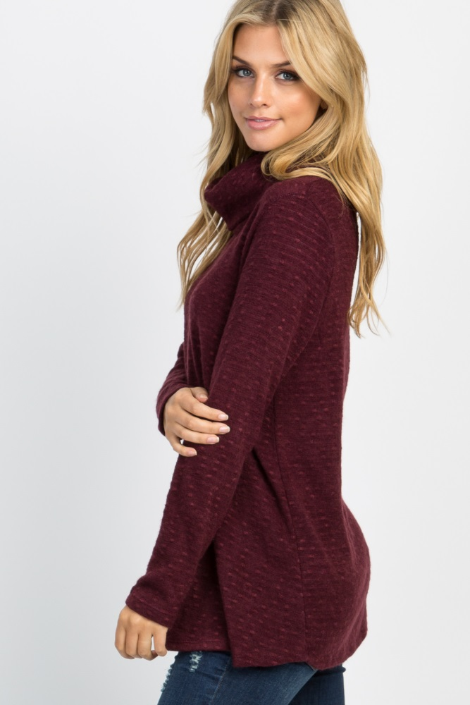 b648e0114893 Burgundy Solid Cowl Neck Knit Maternity Sweater