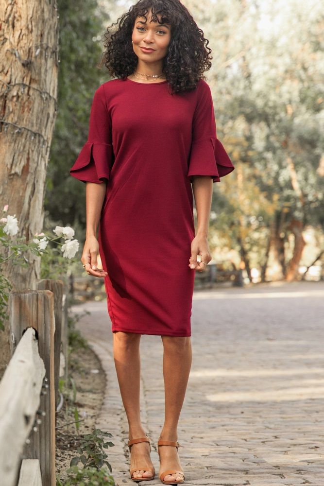 3d2de733a7842 Burgundy Fitted Ruffle Sleeve Maternity Dress