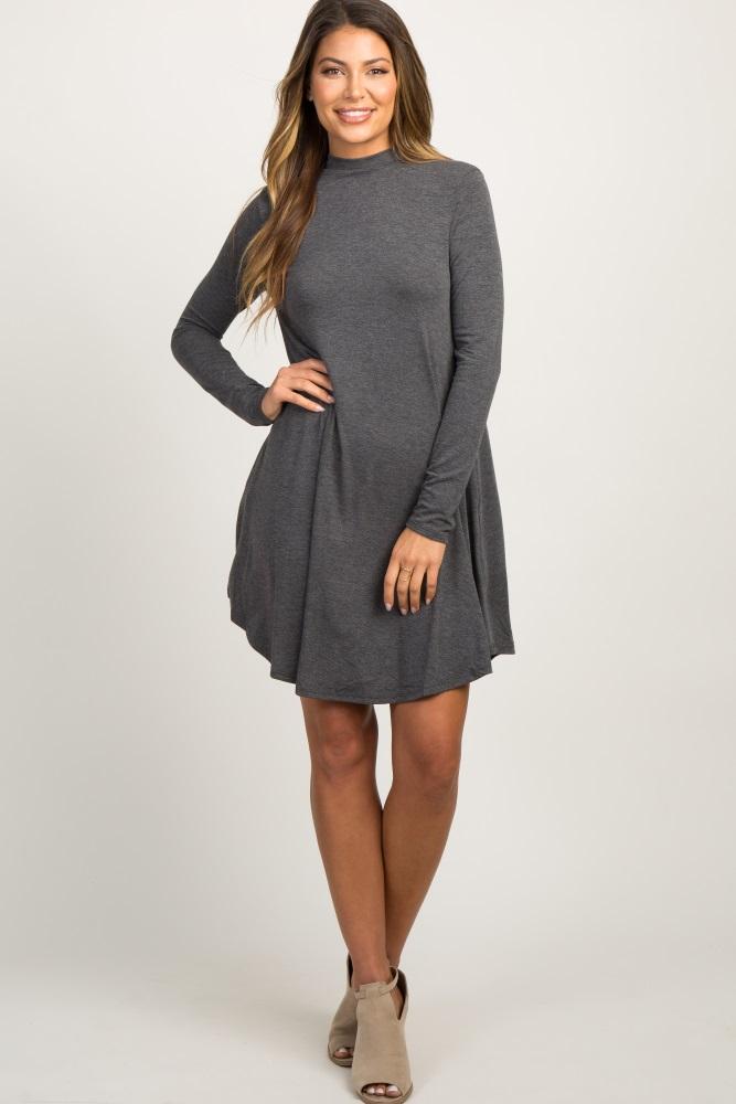 charcoal mock neck long sleeve dress