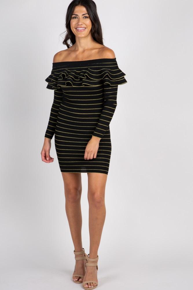 bce102c70eb1 Black Striped Ruffle Off Shoulder Maternity Dress
