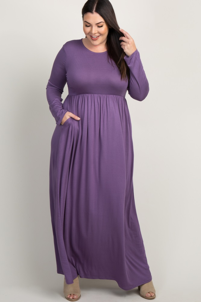 Lavender Pleated Long Sleeve Plus Maxi Dress