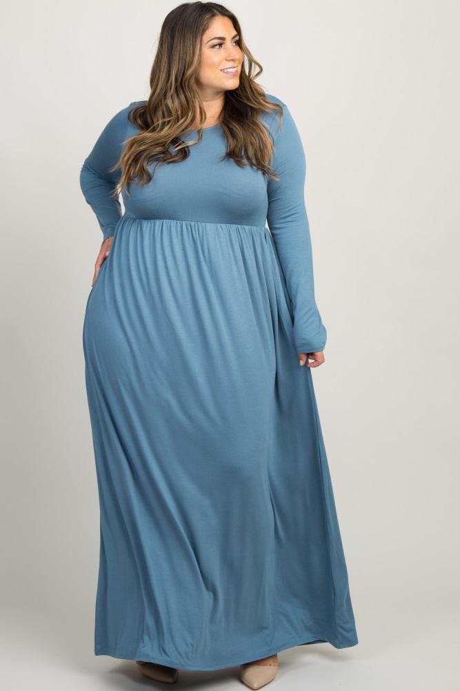 Light Blue Pleated Long Sleeve Plus Maxi Dress