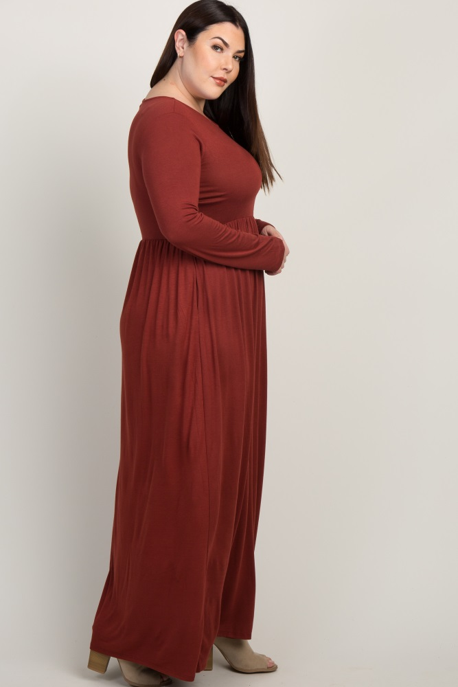 Rust Pleated Long Sleeve Plus Maxi Dress