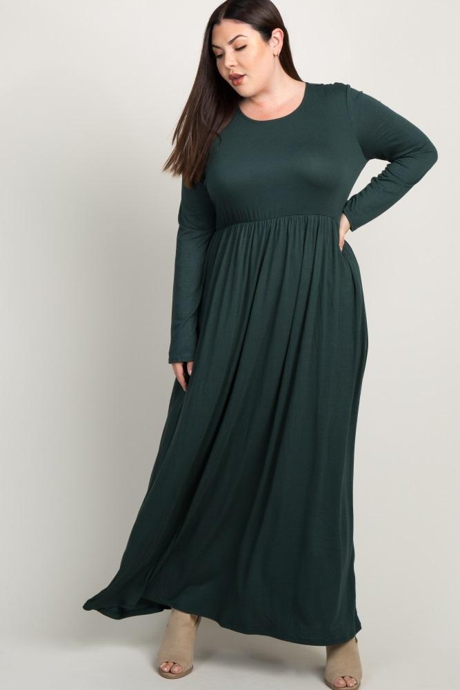 925f8f18e8ca1 Forest Green Pleated Long Sleeve Plus Maternity Maxi Dress