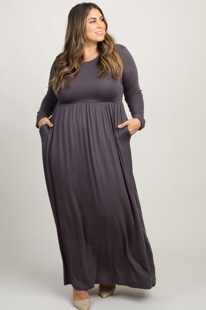 Charcoal Grey Pleated Long Sleeve Plus Maxi Dress