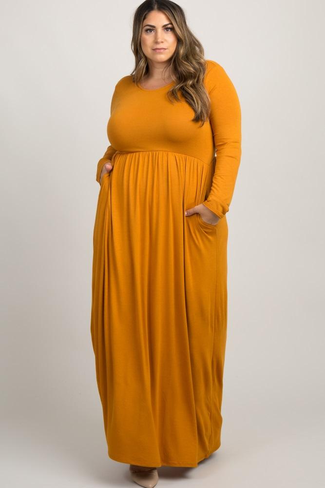 Yellow Pleated Long Sleeve Plus Maxi Dress