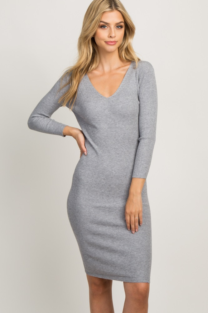721fc7170be Heather Grey Ribbed Maternity Sweater Dress