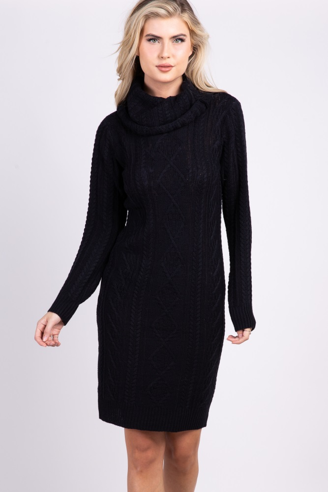 756de8624be Black Cable Knit Cowl Neck Maternity Sweater Dress