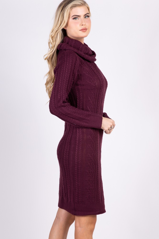 ba9df0aa6fe Burgundy Cable Knit Cowl Neck Maternity Sweater Dress