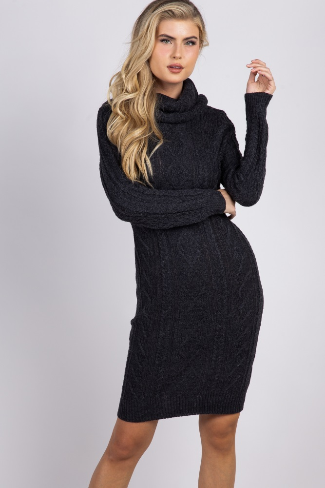 d39a0096fab Charcoal Cable Knit Cowl Neck Maternity Sweater Dress