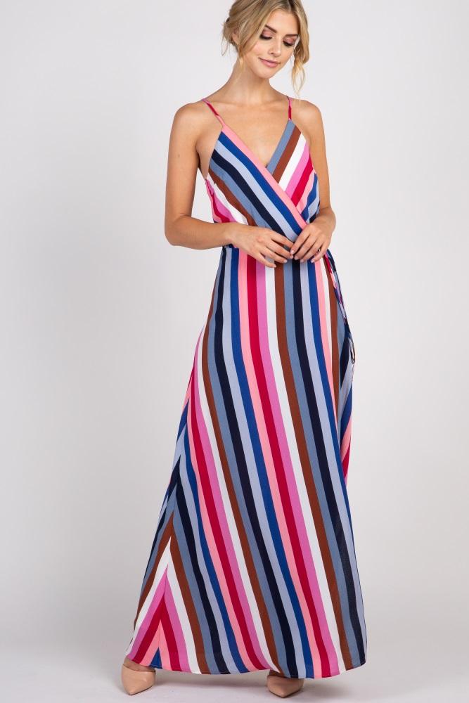 9e11f169c93 Multi Color Striped Cami Strap Wrap Maternity Maxi Dress