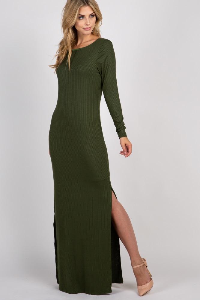 fc3aa13348c60 Olive Ribbed Long Sleeve Open Back Side Slit Maternity Maxi Dress