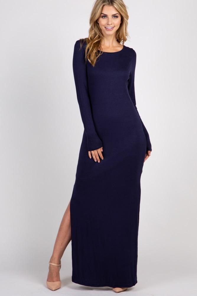 fe133a86089b7 Navy Blue Ribbed Long Sleeve Open Back Side Slit Maternity Maxi Dress