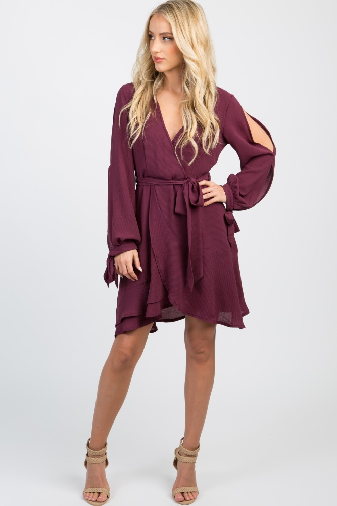 plum sash tie open sleeve dress