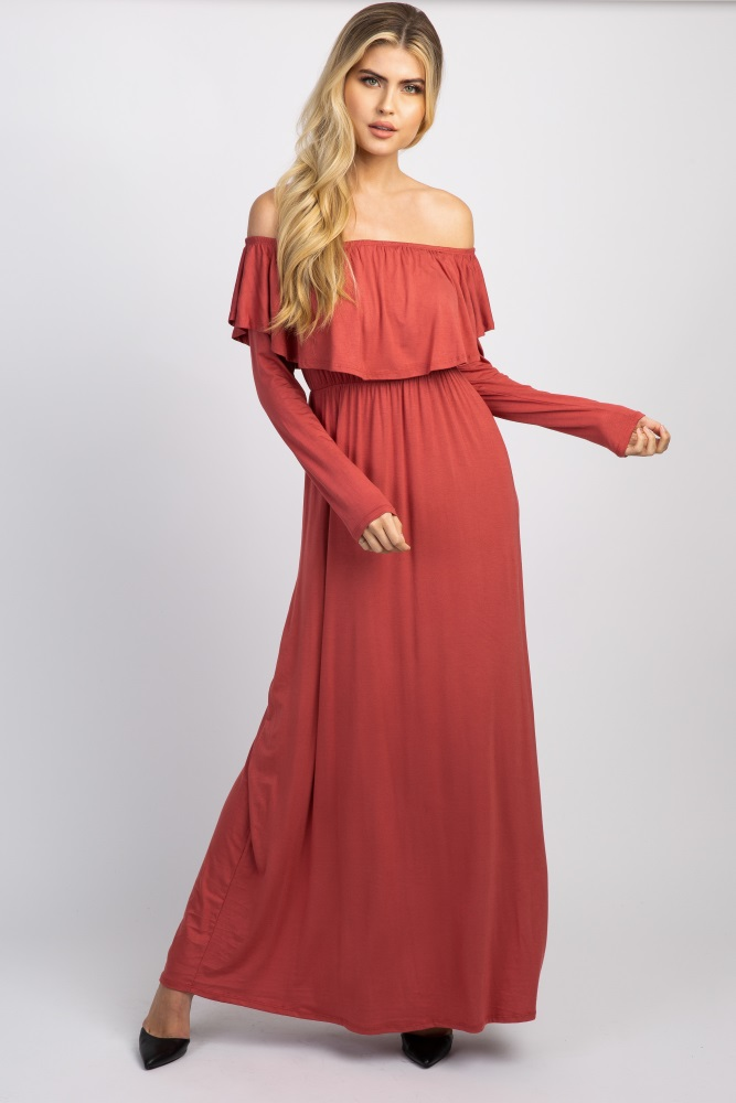 5433bbc42318 Rust Solid Off Shoulder Ruffle Maternity Maxi Dress