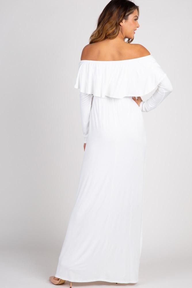 0dd9e6d9f7f Ivory Solid Off Shoulder Ruffle Maxi Dress
