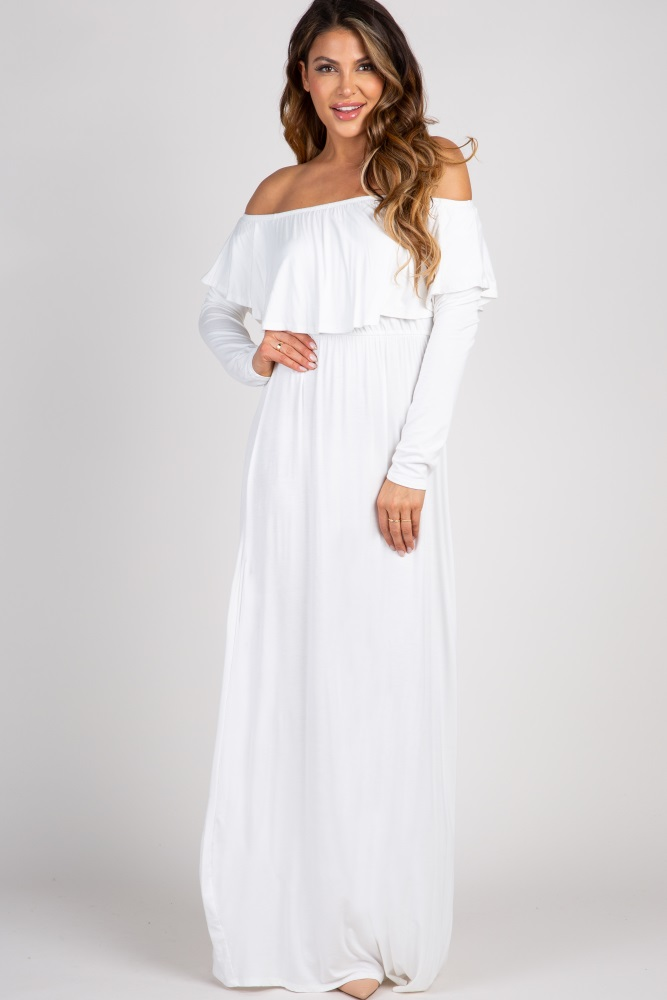 d0ec240482b67 Ivory Solid Off Shoulder Ruffle Maternity Maxi Dress