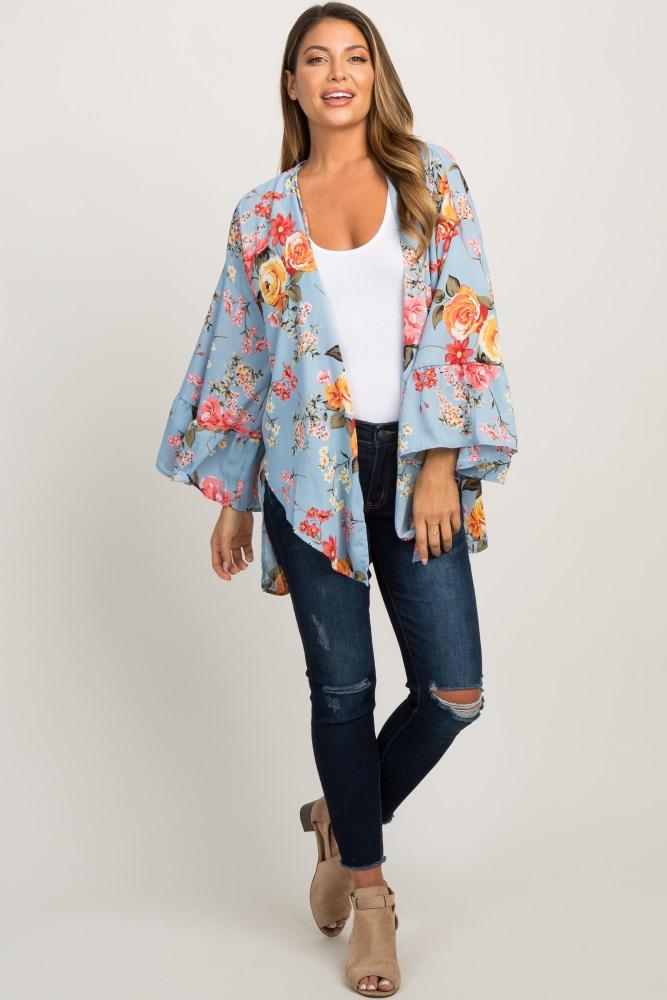 light blue floral bell sleeve kimono
