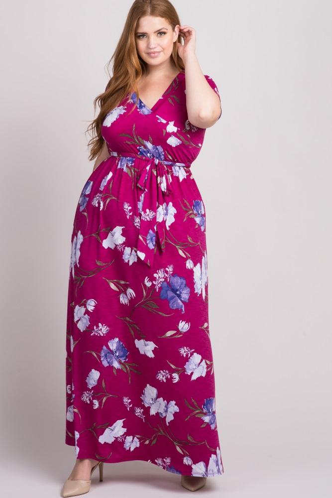 2c834b4ceb3 Magenta Floral Plus Maternity Nursing Wrap Maxi Dress
