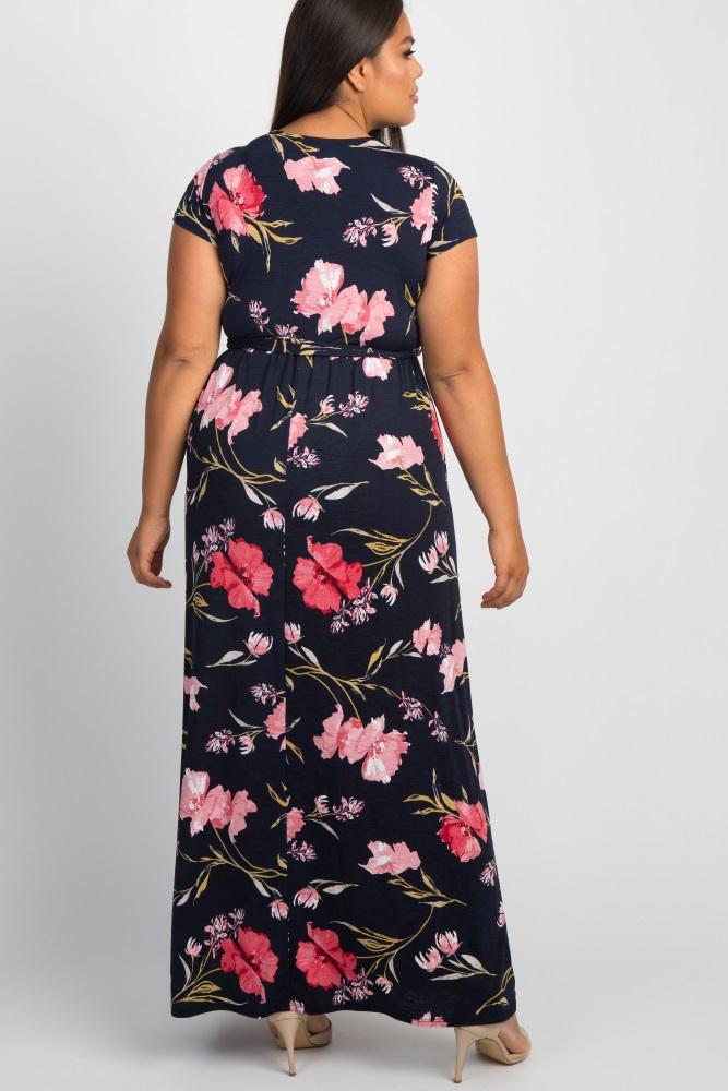 dc008c1de Navy Floral Plus Maternity/Nursing Wrap Maxi Dress