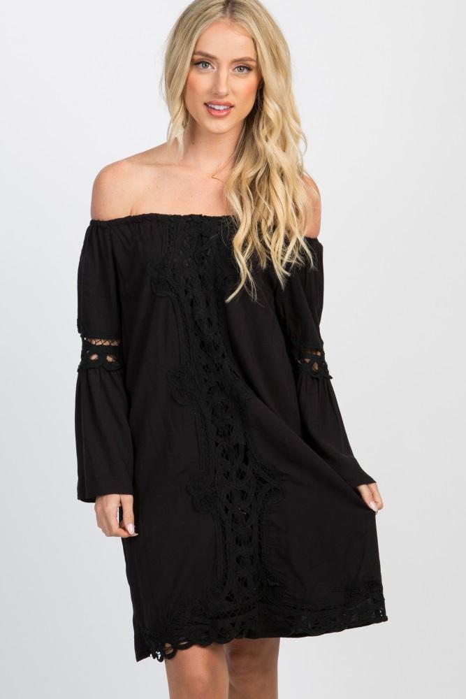 97d20c10c888 Black Off Shoulder Bell Sleeve Crochet Accent Dress