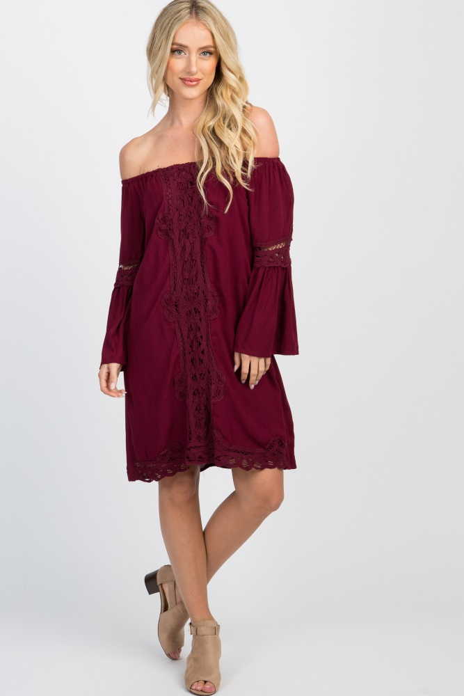 4c7c5182c9d Burgundy Off Shoulder Bell Sleeve Crochet Accent Dress