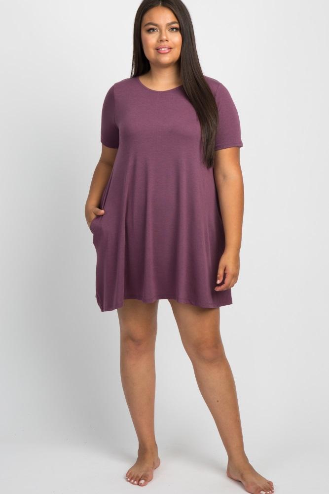 purple short sleeve plus sleep dress