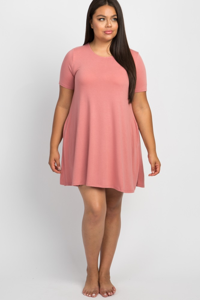 pink short sleeve plus sleep dress