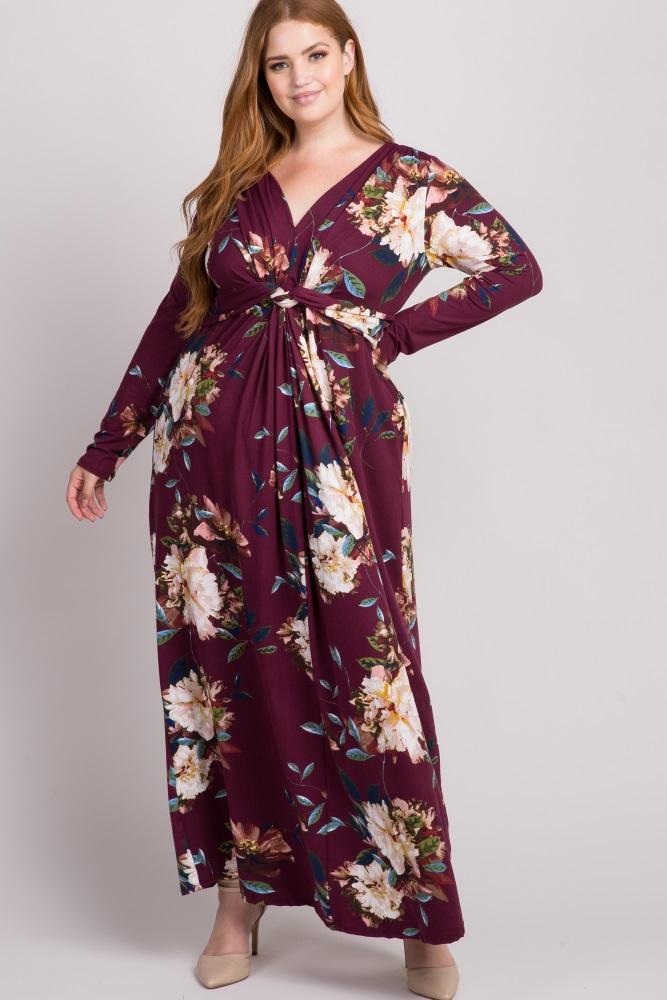 Burgundy Floral Front Twist Long Sleeve Plus Maxi Dress