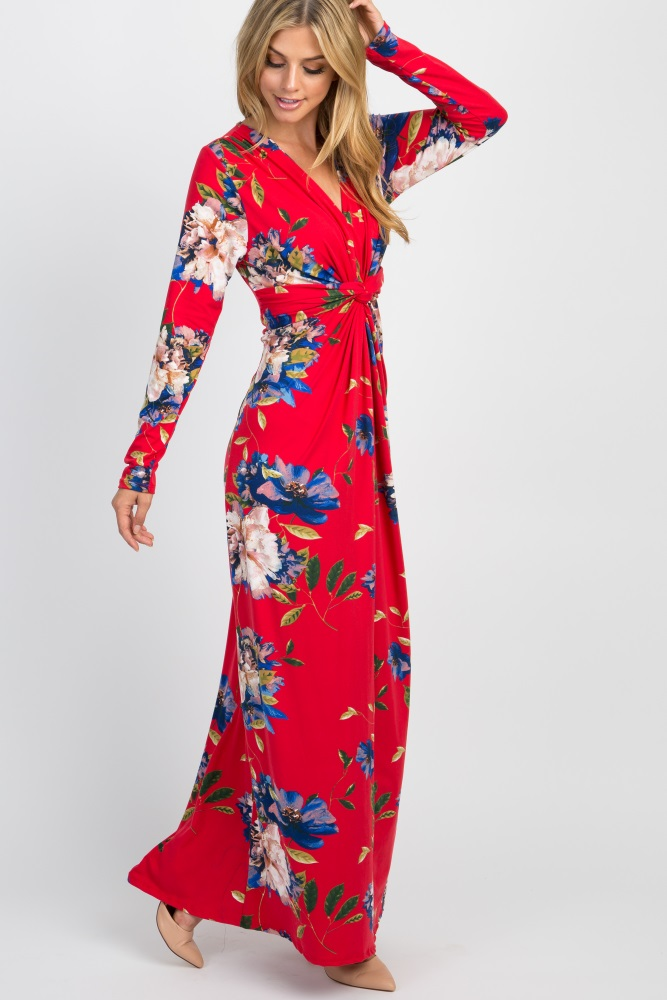 b646bfe1528 Red Floral Front Twist Long Sleeve Maternity Maxi Dress