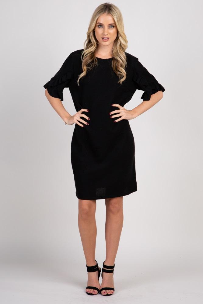 37d7f3462994c Black Solid Layered Ruffle Trim Maternity Dress