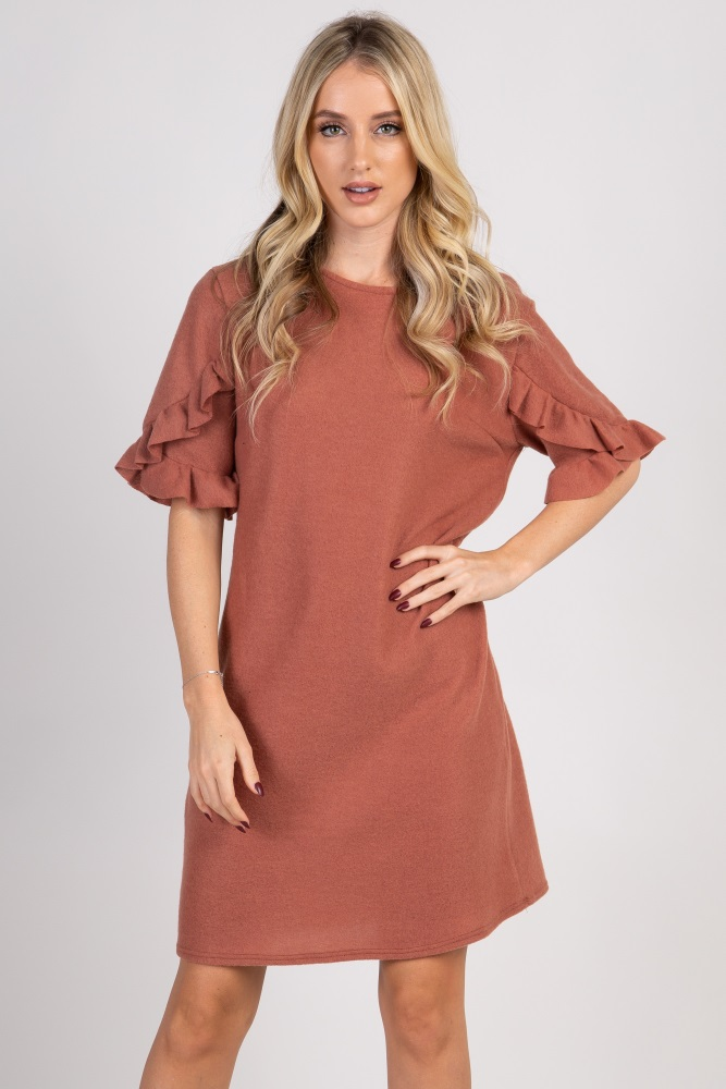 7d77376462a17 Rust Solid Layered Ruffle Trim Maternity Dress
