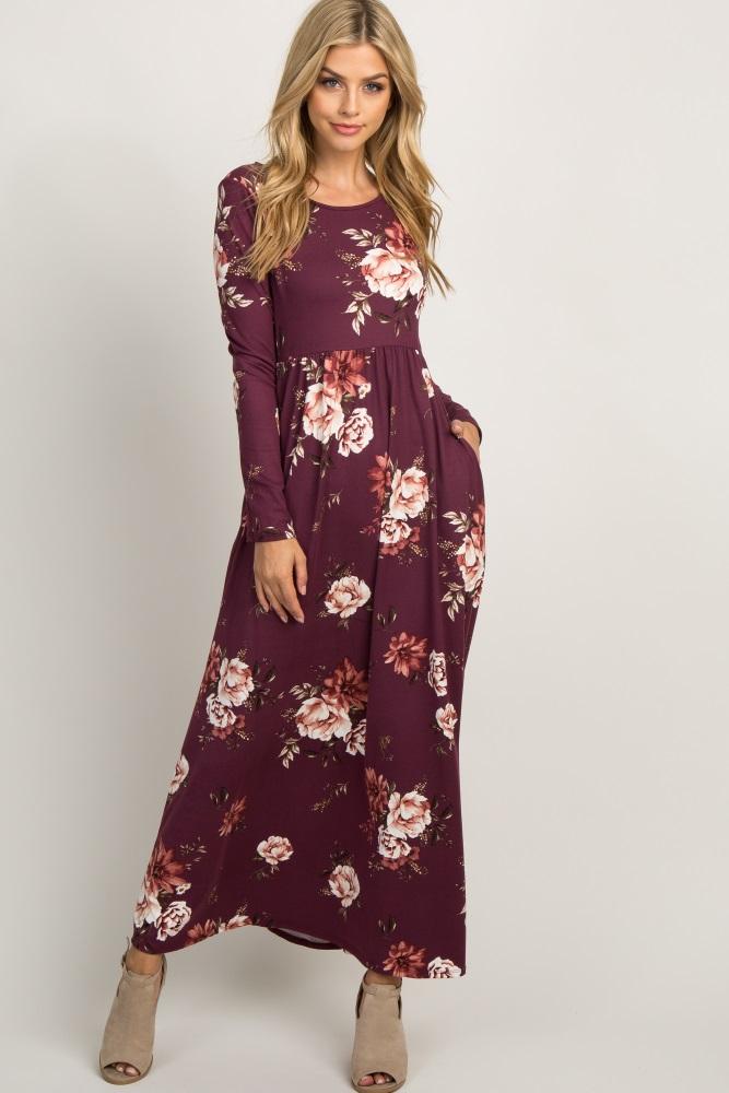 689f742cea7ec Burgundy Floral Crisscross Back Maternity Maxi Dress
