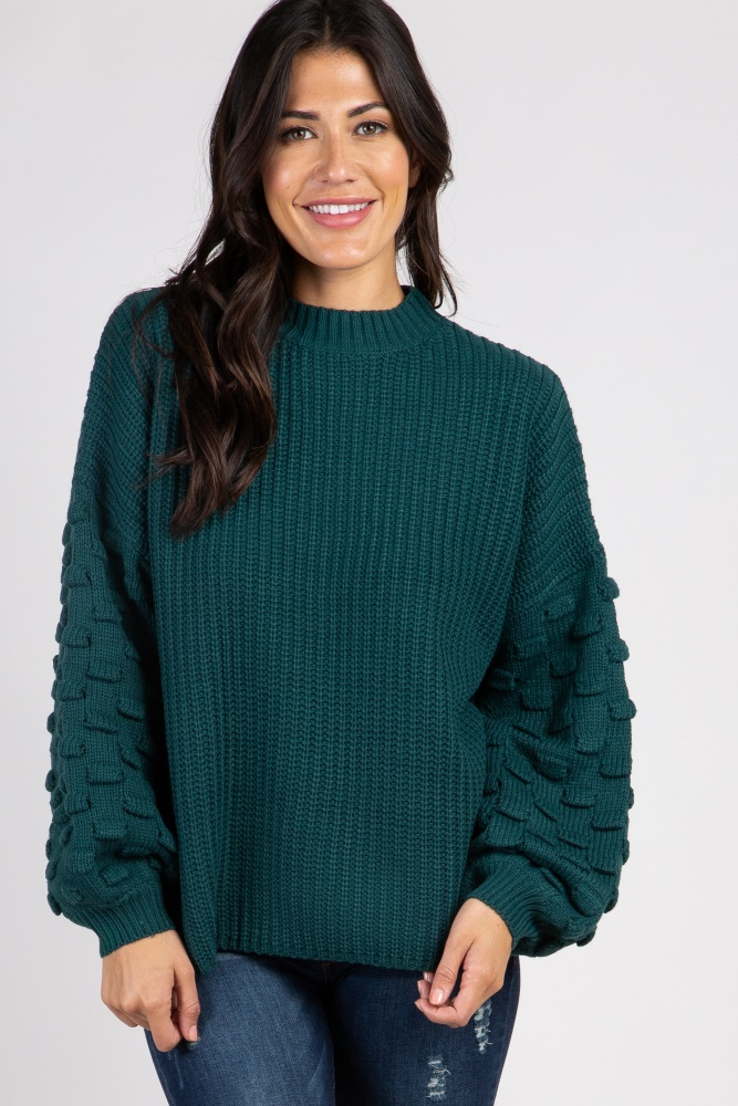 70714d4843f55 Green Textured Puff Sleeve Knit Maternity Sweater