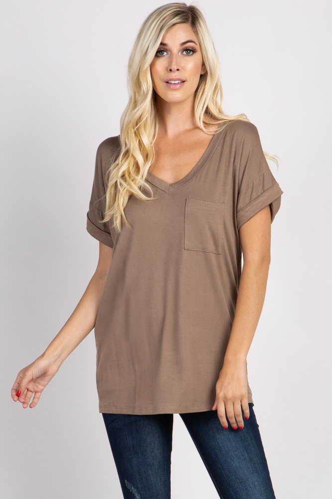 taupe solid pocket top
