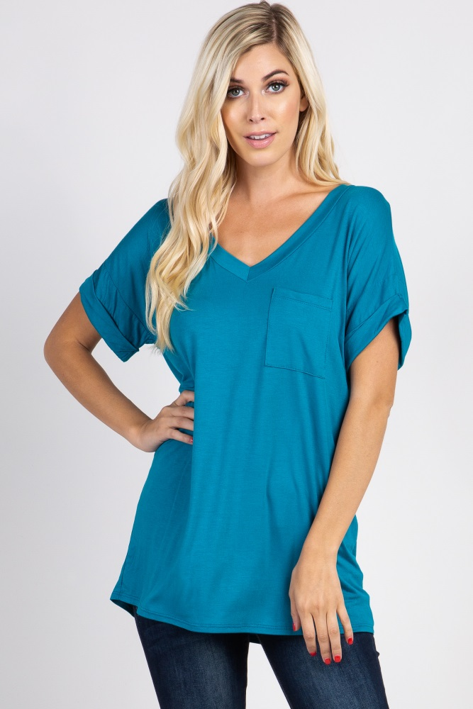 teal v-neck pocket accent top