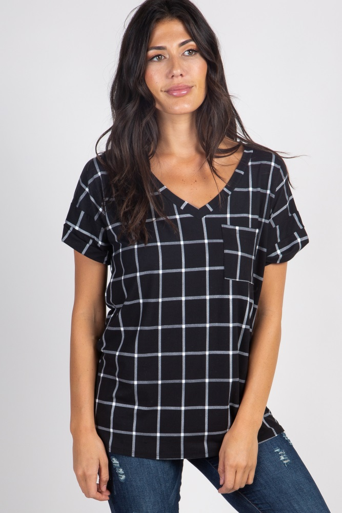 black plaid pocket top
