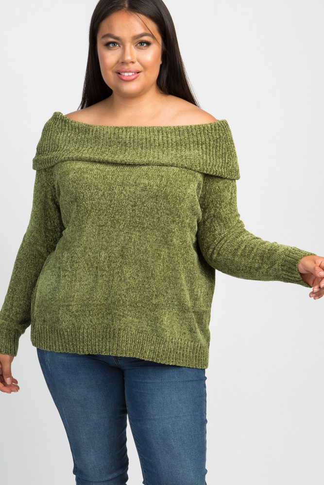olive chenille knit off shoulder plus sweater