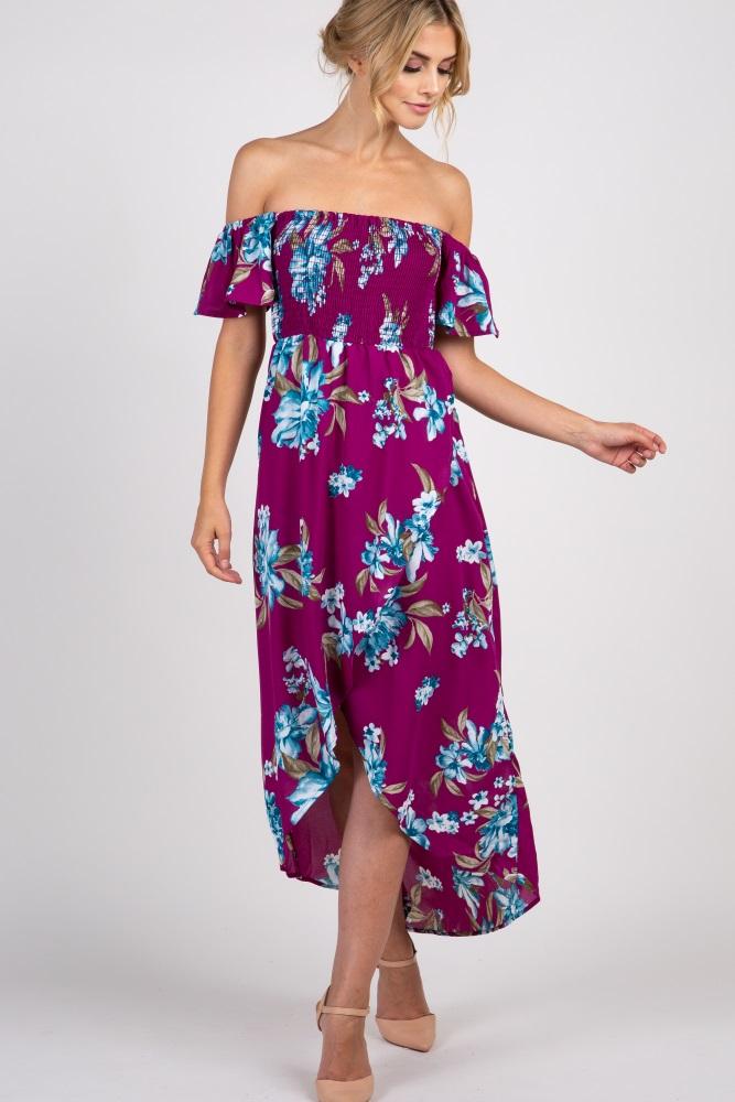 dd7eeb5d039 Purple Floral Off Shoulder Smocked Wrap Maternity Dress