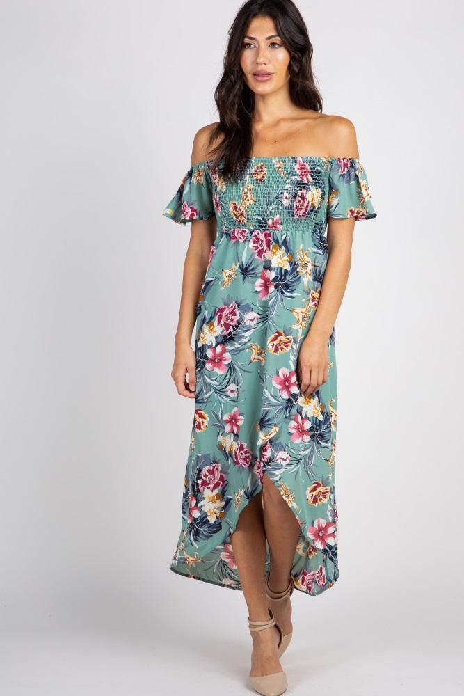 eb628ad969 Sage Green Floral Off Shoulder Smocked Wrap Maternity Dress