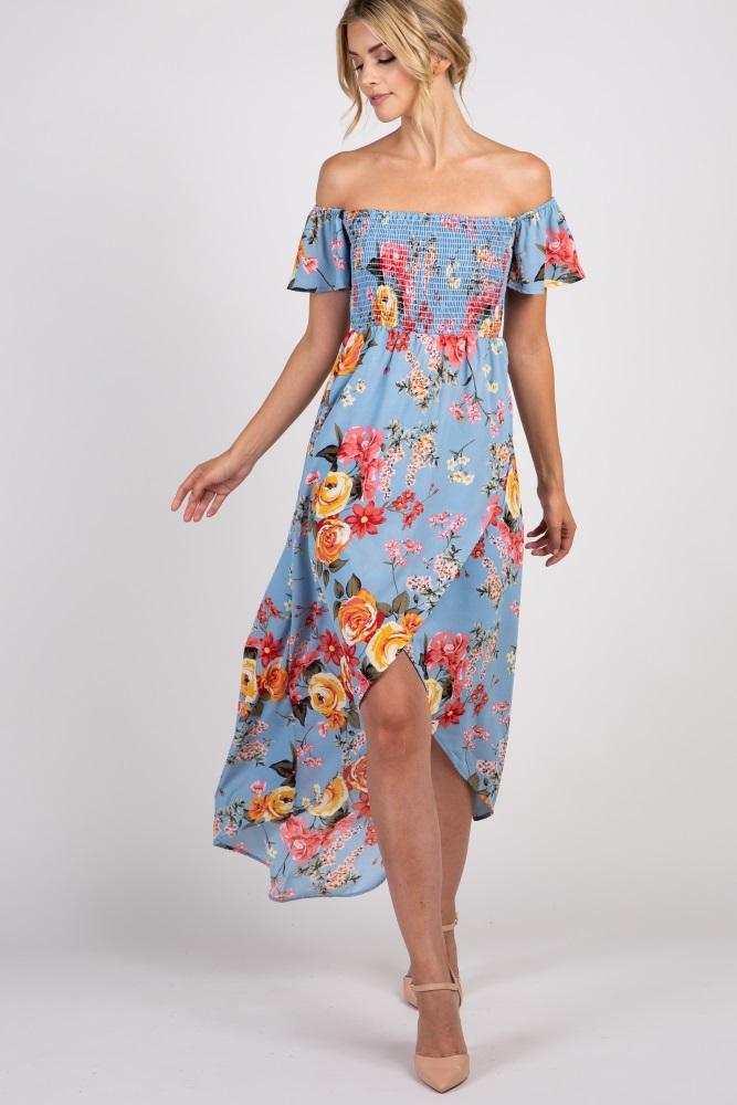 2a333d3bfa8 Light Blue Floral Off Shoulder Smocked Wrap Maternity Dress
