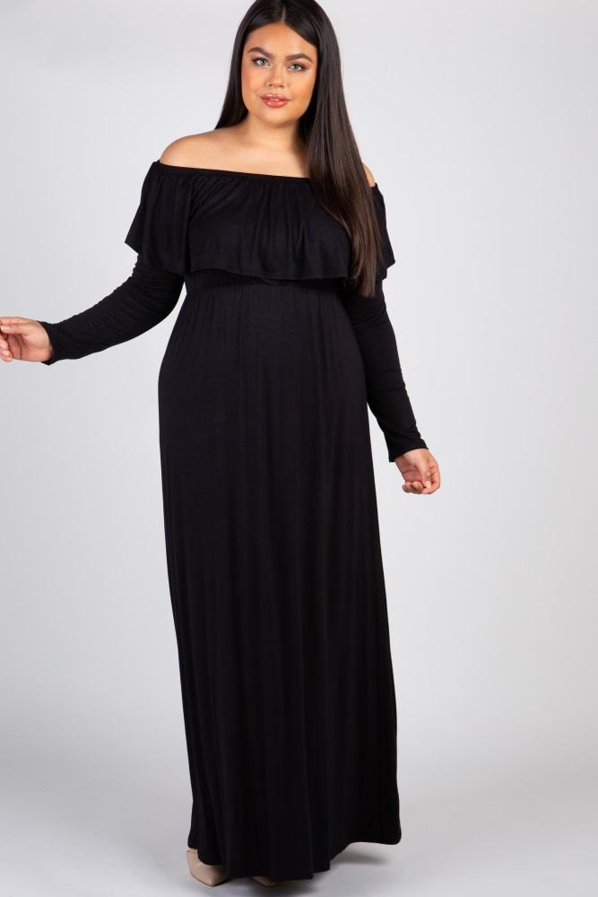 0566428fb27b2 Black Solid Off Shoulder Ruffle Plus Maxi Dress