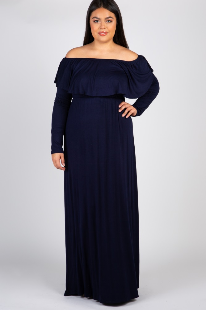 2aafc96913b Navy Solid Off Shoulder Ruffle Maternity Plus Maxi Dress